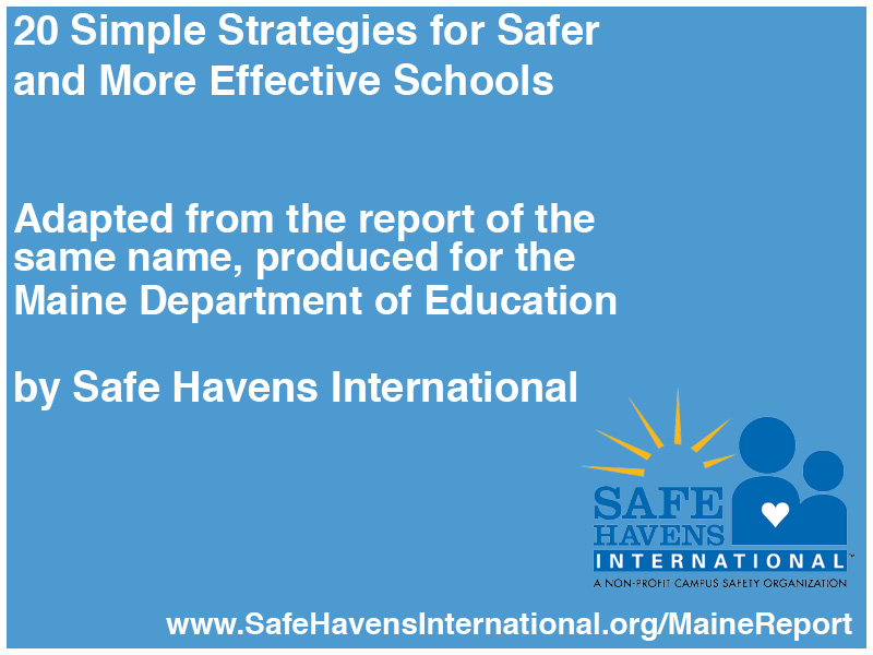 Twenty Simple Strategies for Safer and More Effective Schools Title Slide