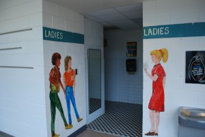 These photos depict an excellent utilization of murals to enhance student safety in the Chapel Hill, North Carolina Public School System.  This clear marking makes it less likely that an aggressor could claim they accidentally entered the girl's restroom by mistake.  They also reduce the chances of students suffering embarrassment from the common problem of people entering the wrong restroom by mistake.