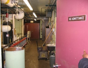 This unlocked boiler room is the type of location where students sometimes engage in sexual activities.  Space management is an important concept for school officials to use to prevent both consensual sexual encounters and sexual assaults.